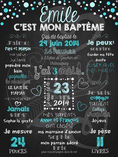 Affiche personnalisée Baptême Pluie de confettis (bleu)   28,00$ #chalkboard #lacraieco