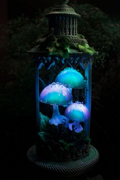 Your place to buy and sell all things handmade Mushroom Decor, Mushroom Art, Fairy Room, Classic Lanterns, Blue Lantern, Fairy Lamp, Handmade Lamps, Fairy Houses, Decoration
