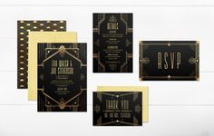 PRINTABLE Art Deco Wedding Invitation Bundle // Gatsby by Foxbairn. Transport your guests to the roaring twenties with this wedding sign series based on the Art Deco style as seen in the Great Gatsby! This wedding invitation set is purchasable at Foxbairn's Etsy store, along with matching signs.