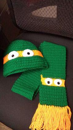 Ideas Crochet Beanie For Boys Ninja Turtles Crochet Kids Scarf, Crochet Hats For Boys, Crochet Beanie, Crochet Scarves, Crochet Baby, Crochet Ninja Turtle, Crochet Gloves, Crocheted Hats, Baby Kind