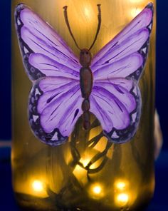 Wine Bottle Lamp Recycled Bottle Purple Butterfly Accent Lamp Frosted Green Glass Night Light Hand Painted
