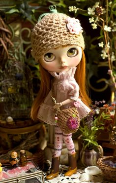 Sweet Earth. Sugar Mountain Smock Dress, Thigh High Socks, Cutie Panties, Crocheted Market Bag And Crocheted Cap For Blythe