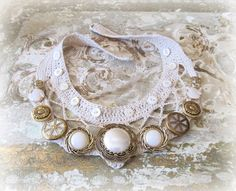 gold coast, vintage pearl button necklace, crocheted collar, statement necklace