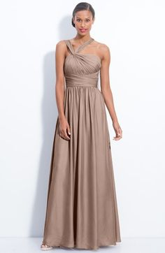 ML Monique Lhuillier Bridesmaids Twist Shoulder Satin Chiffon Gown, A knotted twist pulls aside the gathered straps of a satin chiffon gown shaped with a wide asymmetrical sash waistband that sets off the long swirling skirt. Grey Evening Dresses, Evening Gowns, Prom Dresses, Formal Dresses, Wedding Dresses, Cheap Dresses, Monique Lhuillier Bridesmaids, Neutral Bridesmaid Dresses, Before Wedding