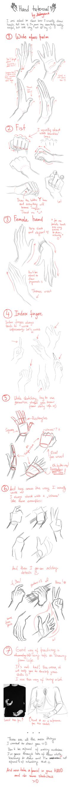 Hands tutorial by Makoyana.deviantart.com on @deviantART                                                                                                                                                      More