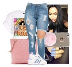 """""""I'm baaack👅💘"""" by trillest-k ❤ liked on Polyvore featuring adidas"""