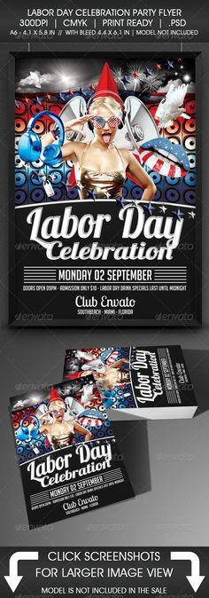 Labor Day Party Flyer #september #stars  • Download here → https://graphicriver.net/item/labor-day-party-flyer/5351781?ref=pxcr