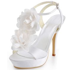 White Dyeable Fabulous 5 Hand Made Flower  Open Toe D'Orsay -Casual shoes (4 Colors)