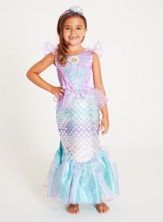 Disney Princess Ariel Lilac & Green Mermaid Costume Set years) from Tu at Sainsbury's ! Your Online Shop for Kids Fancy Dress Disney Ariel Costume, Ariel Costumes, Disney Princess Ariel, Dress Up Costumes, Mermaid Dress For Kids, Fancy Dress For Kids, Girls Dress Up, Flower Girl Dresses, 6 Years