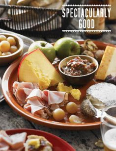ploughman's platter - fruit, cheese, bread, cured meats, cornichons and more!