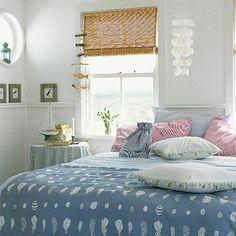 blue and pink coastal beachy bedroom