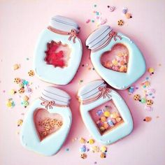 """Cookie jar Candy jar cookies - For just the picture. the top and bottom cookies are """"Stained Glass"""" cookies Fancy Cookies, Valentine Cookies, Iced Cookies, Cute Cookies, Royal Icing Cookies, Cookies Et Biscuits, Cupcake Cookies, Sugar Cookies, Valentines"""