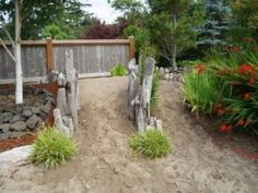 a beachy corner in a mostly formal garden in Gearhart, Oregon