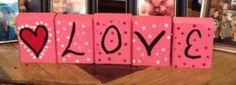 Reversible Santa/Love wooden blocks by FerlyGirly on Etsy