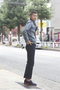 Reach for a blue denim jacket and dark blue jeans for a casual level of dress. A cool pair of navy blue suede brogues is an easy way to upgrade your look.   Shop this look on Lookastic: https://lookastic.com/men/looks/blue-denim-jacket-grey-crew-neck-t-shirt-navy-jeans/18073   — Blue Denim Jacket  — Grey Crew-neck T-shirt  — Navy Jeans  — Navy Suede Brogues