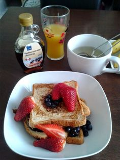 French toast and fresh berries for breakfast. Let's welcome Spring here!