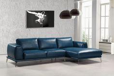 Divani Casa Drancy Modern Blue Bonded Leather Sectional Sofa VGCA1579ANG-BLU