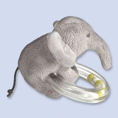 """Jacadi Paris Elephant rattle LIGHT GREY Mixte - """"A soft and cuddly stuffed elephant which wins little ones' hearts, while the translucent ring filled with multicolor beads gently stimulates their senses."""""""