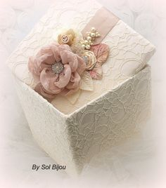 ****MADE UPON REQUEST    ***This listing is for a keepsake box as shown or in any color combination.      This luxurious Sol Bijou bridal keepsake box
