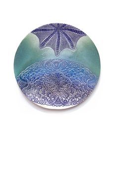 Kunst Objekt Wand Keramik handgemacht Teller Platte Skulptur Spitze Ornament Space blau grün Art Deco Geschenkidee Haus Interior Dekoration more: www.etsy.com/de/shop/KunstLABor?ref=hdr_shop_menu