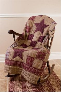 Country primitive star patch rustic burgundy tan cotton quilted throw