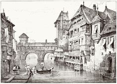 Samuel Prout, from Sketches by Samuel Prout, by Charles Holme, London, Medieval World, Medieval Art, Architecture Drawings, Ancient Architecture, Art Sketches, Art Drawings, Pen Sketch, Building Sketch, Sketch Inspiration