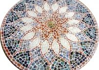 Decoração: Mesa Em Mosaico - Tampo De Mesa Em Mosaico Vitral Árabe 100Cm Feito Com Pedras
