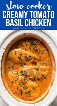 Slow Cooker Creamy Tomato Basil Chicken Recipe
