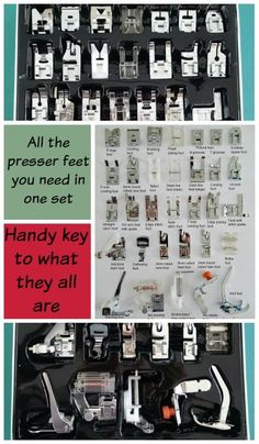 Awesome set of presser feet with so much all in one set for an excellent price.  Plus a key to what they are all.