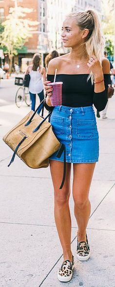 With a Denim Mini Skirt + Sneakers | Cute Summer Outfit Ideas: How to Wear Off the Shoulder Tops, check it out at http://cuteoutfits.com/off-the-shoulder-tops-cute-outfits/ 