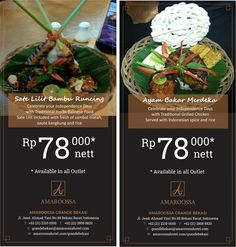 "Enjoy your time with our promo ""Ayam Bakar & Sate Lilit"" only IDR 78.000nett. For more information +62 (21) 2210 0000"