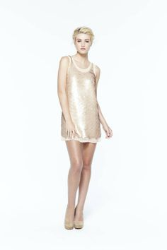 Sequin Dress With Scalloped Edge