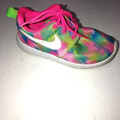 cd65116c58b4c Shop Kids  Nike Pink Blue size Sneakers at a discounted price at Poshmark.  Description  Girls Nike Roshe one print rainbow sneakers Bright colors good  ...