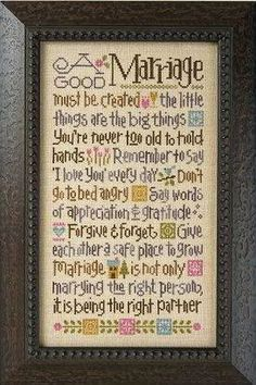 Quote for the wedding?  Lizzie Kate - A Good Marriage K55 - Counted Cross Stitch Pattern Chart and Threads