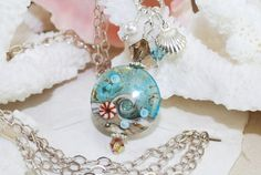 Wedding Beach Necklace~Beach Pendant Necklace~Lampwork Necklace~Ocean Wave Necklace~Ocean Wedding~Summer by ornatetreasures on Etsy