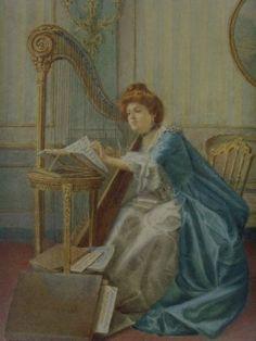 Moretti, R. (19th century) - Woman With Harp