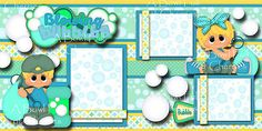 BLOWING-BUBBLES-boy-girl-2-premade-scrapbook-pages-paper-piecing-layout-CHERRY