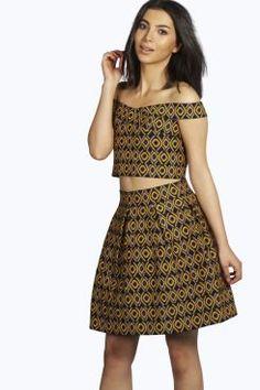 Boutique Mia Geometric Print Bandage Skater Skirt at boohoo.com