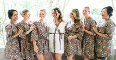 Floral bridesmaid robes.