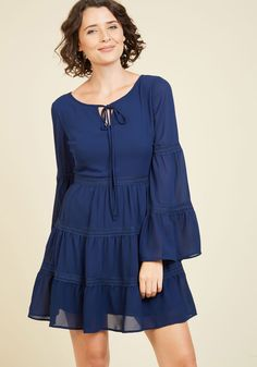 Frill 'Em With Kindness Long Sleeve Dress. You know that your look is top tier, but if anyone says otherwise, prove your poshness with this navy dress! Unique Dresses, Pretty Dresses, Casual Dresses, Fashion Dresses, Boho Chic, Gypsy, Mod Dress, Navy Dress, Nautical Dress