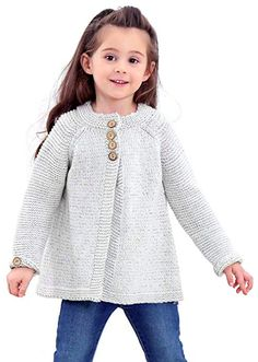 Saifeier PJ Little Girls Crewneck Cardigans Solid Bow Knit Sweaters Button Long Sleeves Coats Baby Girl Cardigans, Baby Cardigan, Baby Sweaters, Knit Sweaters, Sweater Cardigan, Kids Knitting Patterns, Knitting For Kids, Pullover Outfit, Quick Knits