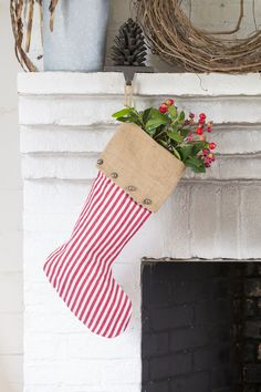 Pinecone Stocking Hanger | Simple and festive way to decorate for Christmas!
