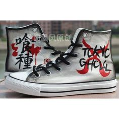 Anime Tokyo Ghoul Hand Painted Canvas Shoes ❤ liked on Polyvore featuring shoes