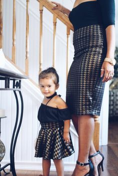Mother Daughter Matching Skirts - Houndstooth Gold Gorgeous skirt combination for mother and daughter outfits this fall.