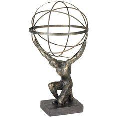 "Atlas with Globe 17 1/4"" High Bronze Sculpture - Style # 2X035"