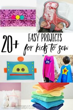 See how easy it can be to teach kids to sew! Check out this list of free beginner sewing tutorials perfect for children. All have photo step by step instructions and/or free printable patterns. #sewing