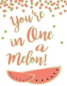 You're-One-in-a-Melon from Mandy's Party Printables | Mandy's Party Printables