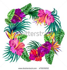 vector wreath with tropical flowers. Retro Hawaiian style floral arrangement, with beautiful hibiscus, palm, bird of paradise. Amazing vector illustrations, vintage style. Editable graphic elements.