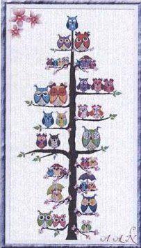 Owl Family Tree - Cross Stitch Pattern - http://www.123stitch.com/item/Alessandra-Adelaide-AAN-Owl-Family-Tree-Cross-Stitch-Pattern/C8853