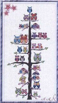 Owl Family Tree - Cross Stitch Pattern - http://www.123stitch.com/item/Alessandra-Adelaide-AAN-Owl-Family-Tree-Cross-Stitch-Pattern/C8853